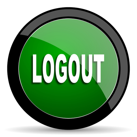 round button: logout green web glossy circle icon on white background