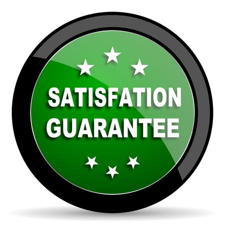 satisfaction guarantee: satisfaction guarantee green web glossy circle icon on white background Stock Photo