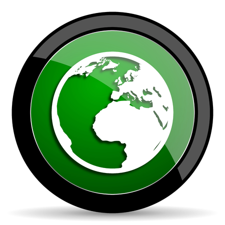 circle icon: earth green web glossy circle icon on white background