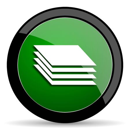 layers: layers green web glossy circle icon on white background