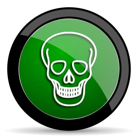 pirating: skull green web glossy circle icon on white background