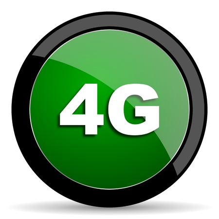 4g: 4g green web glossy circle icon on white background Stock Photo