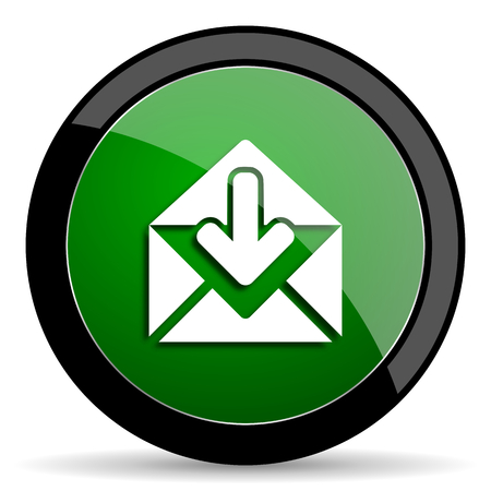 secretariat: email green web glossy circle icon on white background
