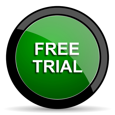 grant: free trial green web glossy circle icon on white background
