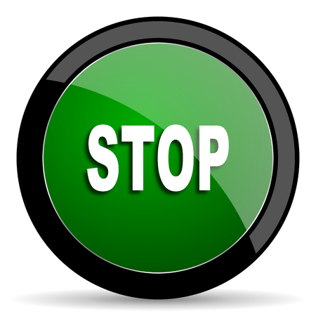 proscribed: stop green web glossy circle icon on white background