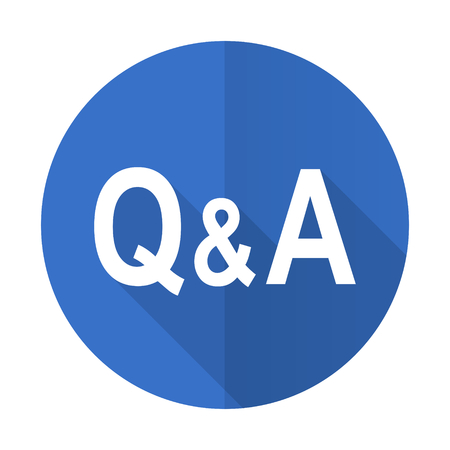 question and answer: question answer blue web flat design icon on white background