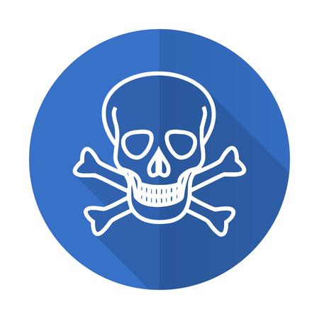 pirating: skull blue web flat design icon on white background
