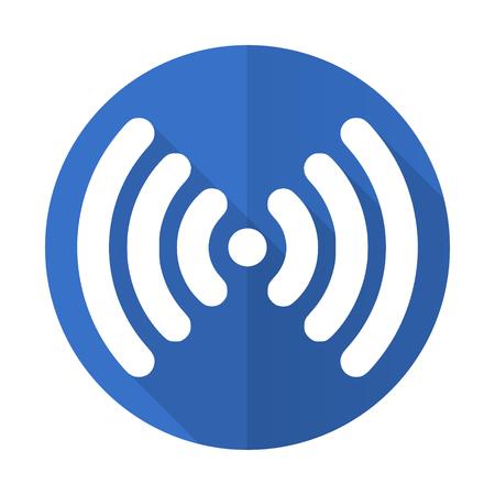 wireless hot spot: wifi blue web flat design icon on white background