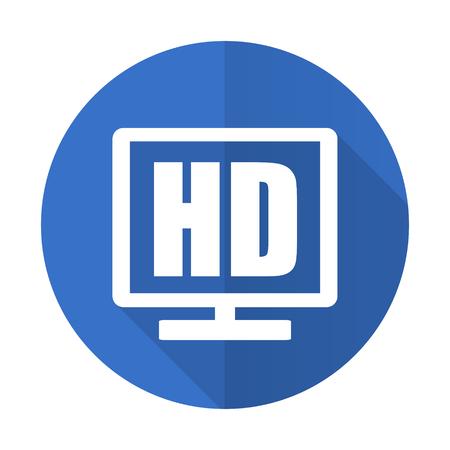 programm: hd display blue web flat design icon on white background