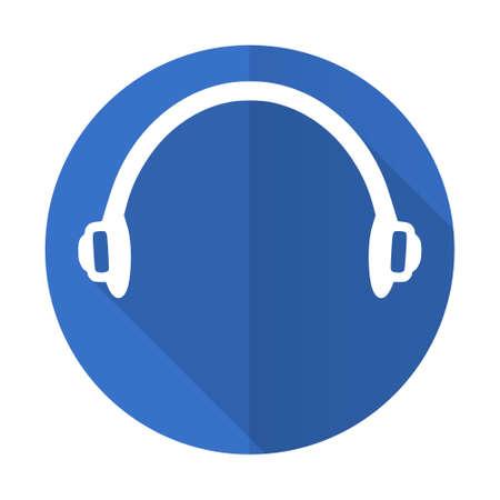 telemarketer: headphones blue web flat design icon on white background