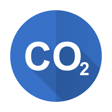 anidride carbonica: carbon dioxide blue web flat design icon on white background