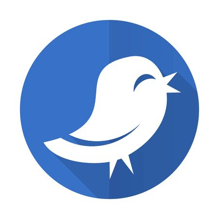 twitter: twitter blue web flat design icon on white background
