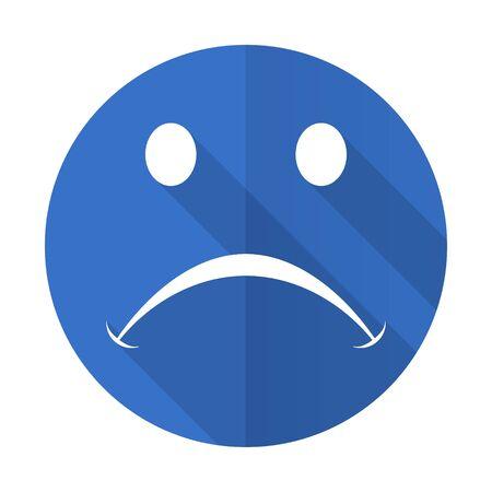 cry blue web flat design icon on white background Stock Photo