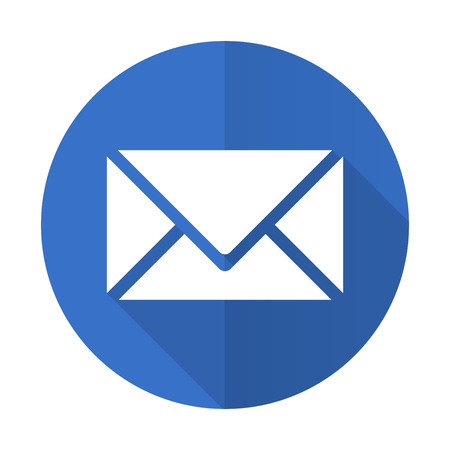 send: email blue web flat design icon on white background