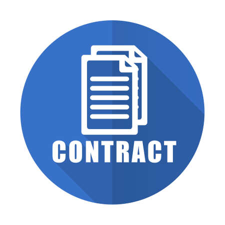 business contract: contract blue web flat design icon on white background