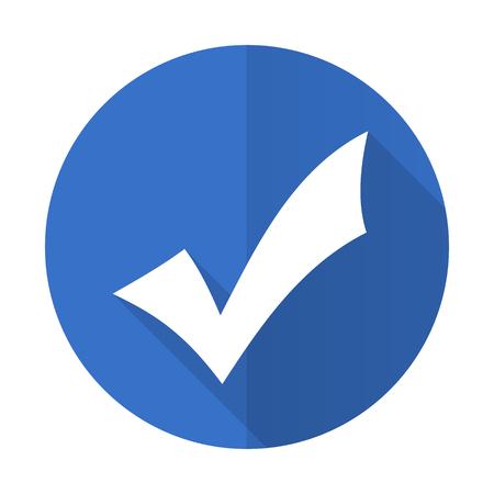 accept blue web flat design icon on white background