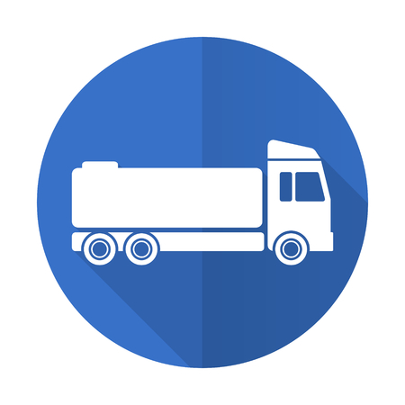 trucker: truck blue web flat design icon on white background