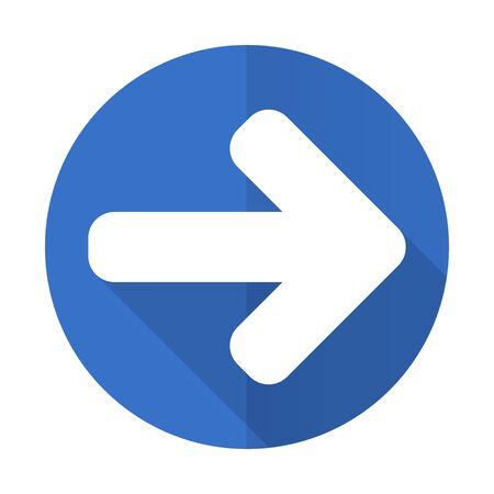 navigation panel: right arrow blue web flat design icon on white background