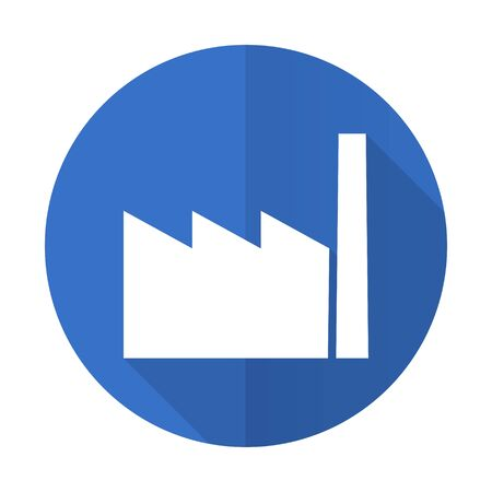 industrialist: factory blue web flat design icon on white background