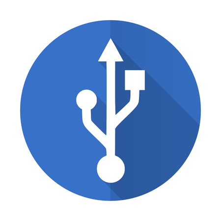 usb pendrive: usb blue web flat design icon on white background Stock Photo