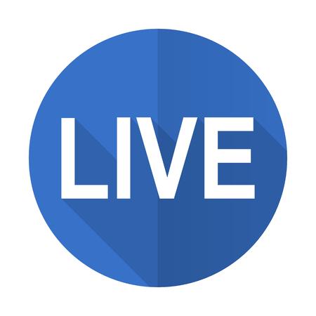 web cast: live blue web flat design icon on white background Stock Photo