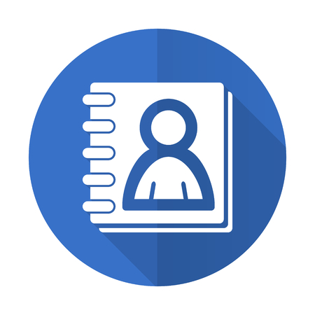 address book: address book blue web flat design icon on white background Stock Photo