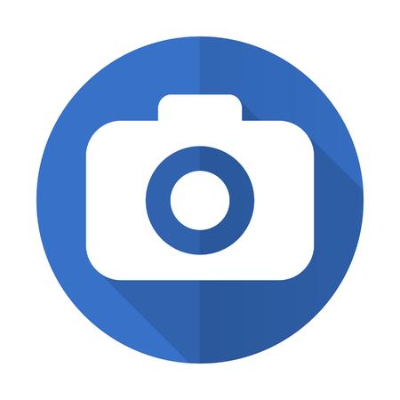 picto: photo camera blue web flat design icon on white background