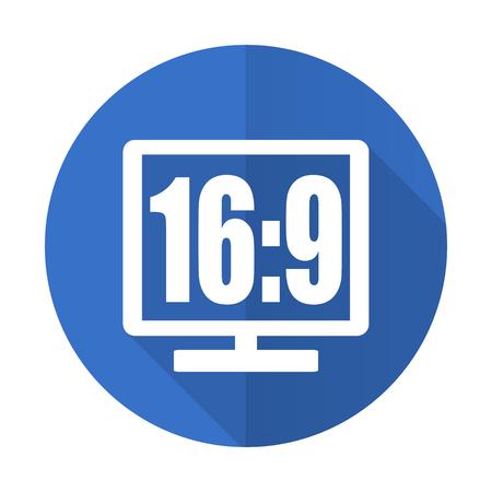 programm: 16 9 display blue web flat design icon on white background