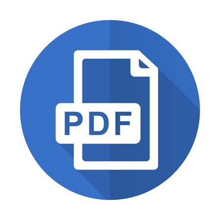 pdf file blue web flat design icon on white background Фото со стока