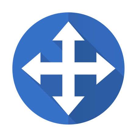 sterring: arrow blue web flat design icon on white background