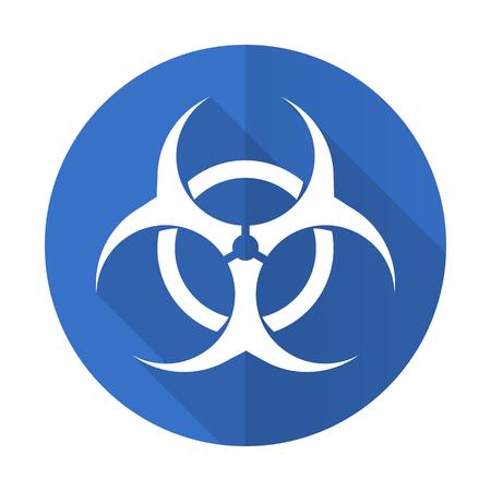 varez: biohazard blue web flat design icon on white background