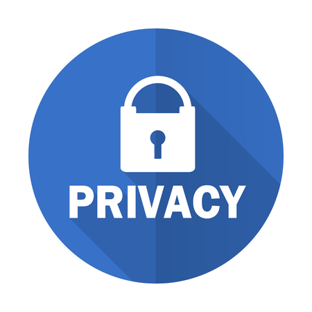 private access: privacy blue web flat design icon on white background Stock Photo