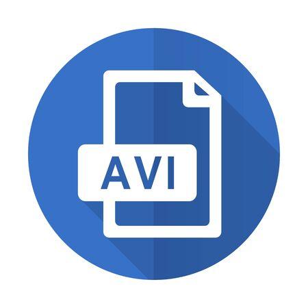 avi: avi file blue web flat design icon on white background Stock Photo
