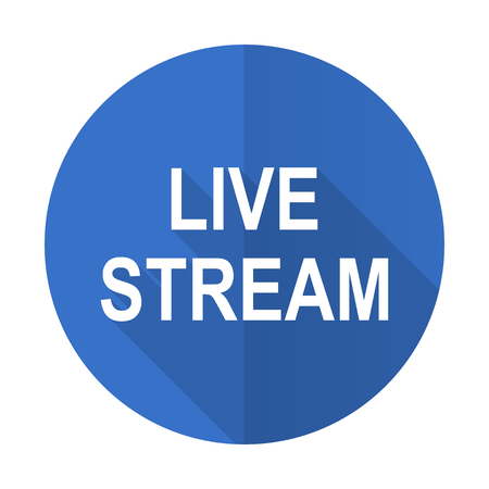 live stream tv: live stream blue web flat design icon on white background Stock Photo