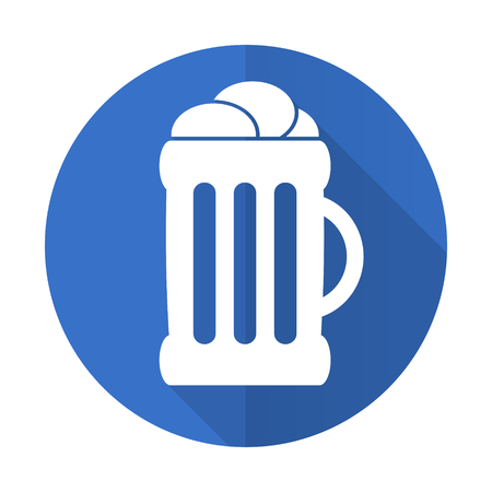 cereal bar: beer blue web flat design icon on white background Stock Photo