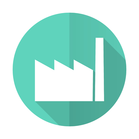 industrialist: factory blue web flat design circle icon on white background