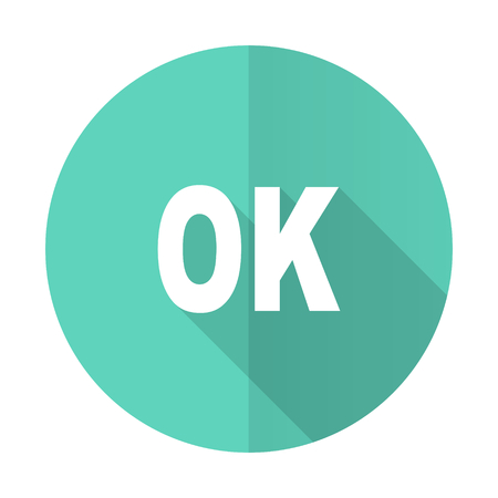 approval button: ok blue web flat design circle icon on white background