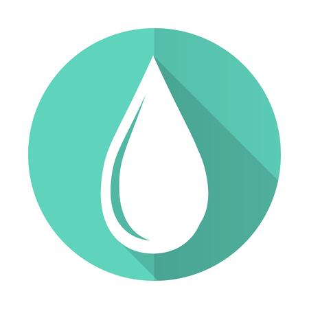水ドロップ青 web フラットなデザイン白い背景の上の円のアイコン