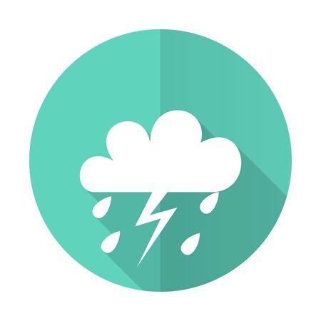 meteo: storm blue web flat design circle icon on white background