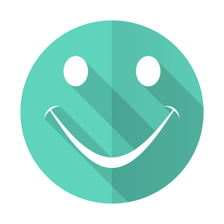 smile blue web flat design circle icon on white background