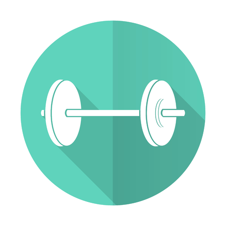 circular muscle: fitness blue web flat design circle icon on white background Stock Photo