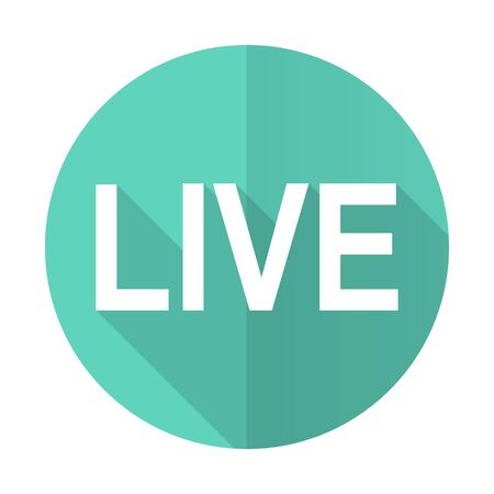 news cast: live blue web flat design circle icon on white background