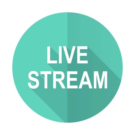 live stream tv: live stream blue web flat design circle icon on white background Stock Photo