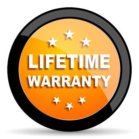 best security: lifetime warranty orange icon Stock Photo