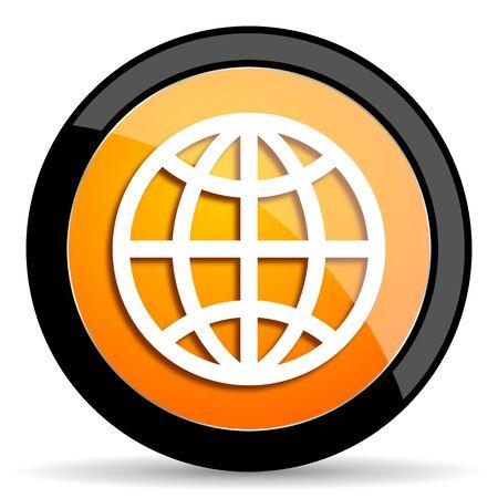 meridians: earth orange icon Stock Photo