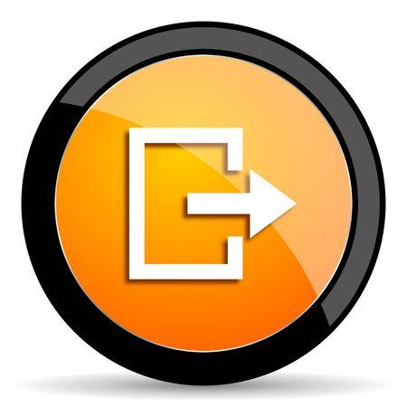emergency exit label: exit orange icon Stock Photo