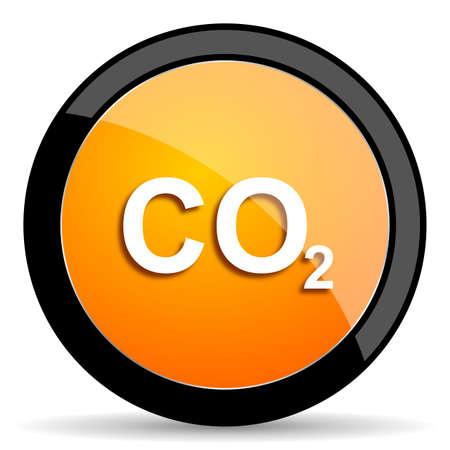 dioxido de carbono: icono naranja de di�xido de carbono Foto de archivo