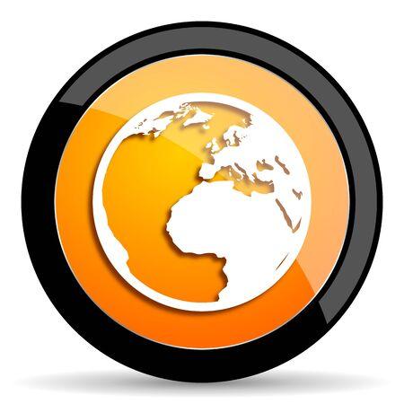 parallels: earth orange icon Stock Photo
