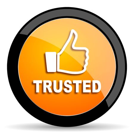 trusted: trusted orange icon Stock Photo