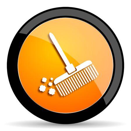 cleansing: broom orange icon Stock Photo